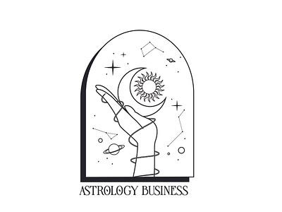 Astrology Illustration & Logo Design horoscope space sun moon stars illustration design business vector graphic design branding logo astrology