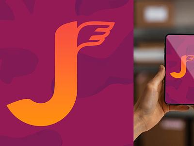 Logo Design delivery wings orange purple pink background mobile design business typography app running j graphic design branding logo