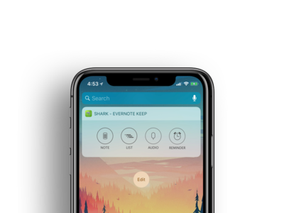 Widget - Evernote Keep flat 2d evernote ios iphonex iphone widget