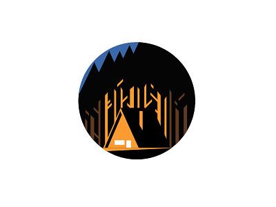 Chalet house home night forest chalet vector illustration illustration vector design icon
