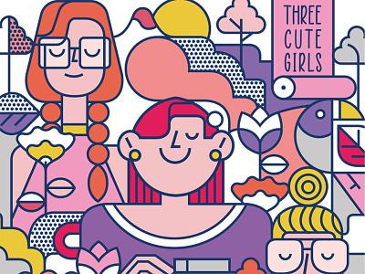Three Cute Girls ux ui character vector illustration illustration vector design icon