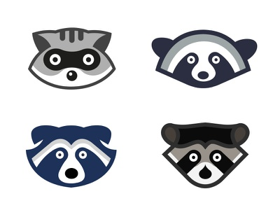 Different Raccoon Icons raccoons raccoon animal ux ui character logo vector illustration illustration vector design icon