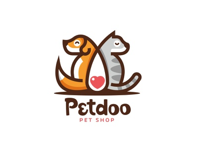 Petdoo Petshop Logo petstore petshop pet app application animal character ux ui logo vector illustration illustration design vector icon