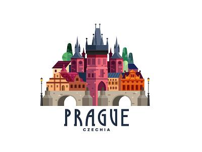 Prague, Czechia praha prague ux ui czech republic czech czechia logo typography vector illustration illustration design vector icon