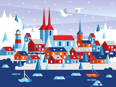 Iceland city design illustration vector icon vector illustration vector art snow white climate european europe ice north icelandic iceland