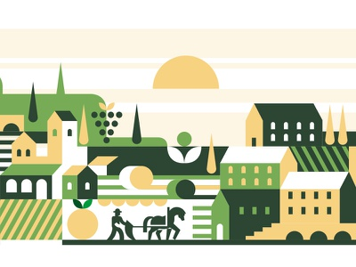 The Farm life green countryside farmer farming farm minimal city illustration vector illustration design vector icon