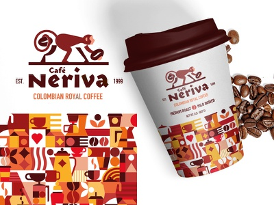 Cafe Neriva Logo & Pattern typography branding illustration vector illustration design vector icon