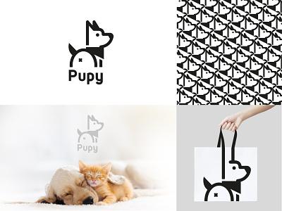 Pupy Logo puppy dog ux ui typography branding logo illustration vector illustration design vector icon