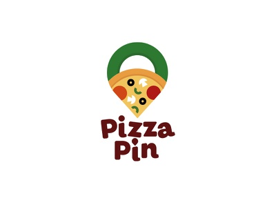 PizzaPin Logo italy food design illustration vector illustration ui ux logo typography icon