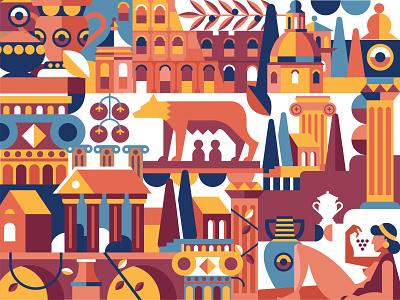 Ancient Rome love roma ancient history europe city italia italy rome branding illustration vector illustration design vector icon