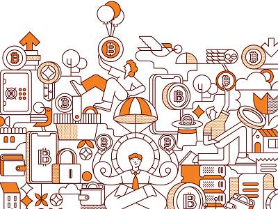 Bitcoin Illustration token bitcoin ux logo ui illustration vector illustration design vector icon