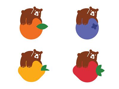 Bear on Fruit bear ux ui branding logo illustration vector illustration design vector icon