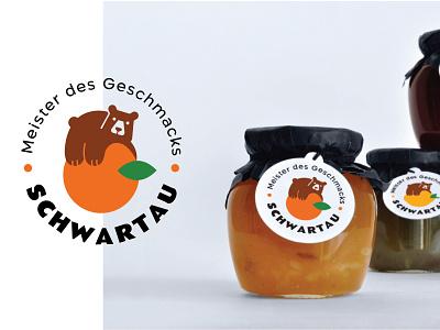 Schwartau Jam minimal dessert bear food jam branding logo ui ux illustration vector illustration design vector icon