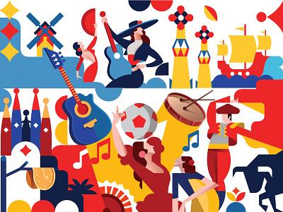 Spain europe spanish spain illustration vector illustration design vector icon