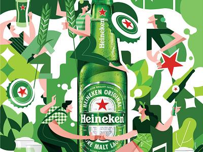 Heineken fun dance enjoy cold cool heineken beer branding logo illustration vector illustration design vector icon