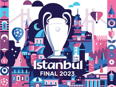 UCL Final Poster euro tournament cup champions league turkey istanbul vectorillustration vector illustration ucu uefa europe soccer football