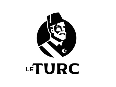 Le Turc illustration icon vectorart vector logo design negative man muslim islam human face turkish turk turkey