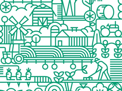 The Farm adobe country art vector illustration design farm farmer
