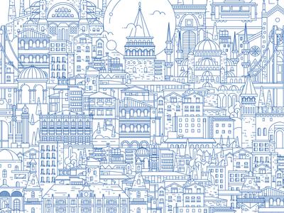 Istanbul linear illustration