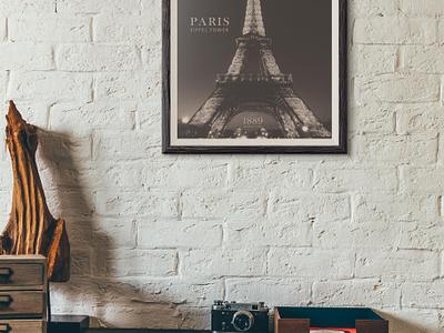 FREE PARIS EIFFEL TOWER POSTER - LAYERED EDITABLE PSD travel editable poster eiffel tower paris photoshop psd freebie free