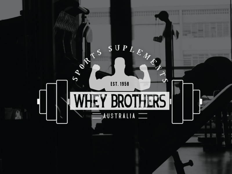 Whey Brothers Sports Suplements Logo weightlifting weights muscle power protein whey junkie suplements sport gym logo design logo