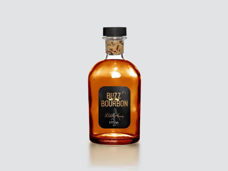 Buzz Bourbon Wild Honey Bottle Label Packaging vintage gold foil wild honey buzz bee packaging bottle label bourbon