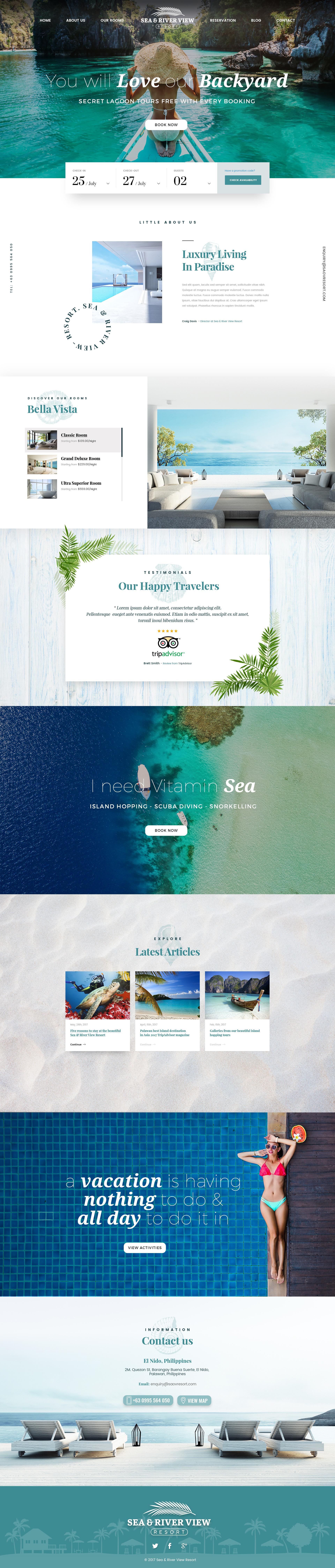 Luxury tropical resort hotel landing page design med