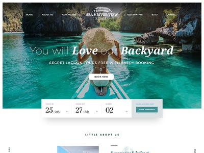 Luxury Tropical Resort Hotel Landing Page Design web design modern paradise tropical luxury booking hotel resort ux ui design web