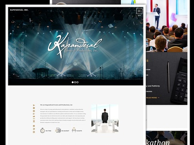 Corporate Events And Productions Landing Page Website Design UI branding minimal landing page corporate flat design website production events ux ui