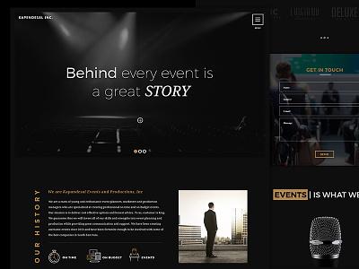 Events And Productions Landing Page Website Dark Version website minimal modern flat gold black luxury ux ui dark landing page events