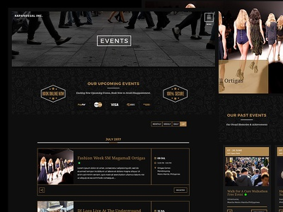 Events Listings Page - Events Company Web Design agency branding minimal landing page corporate flat design website production events ux ui