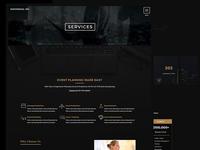 Events Services Page Website Design.