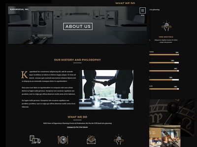 Events About Us Page Website UI UX Design agency branding minimal about us corporate flat about website production events ux ui