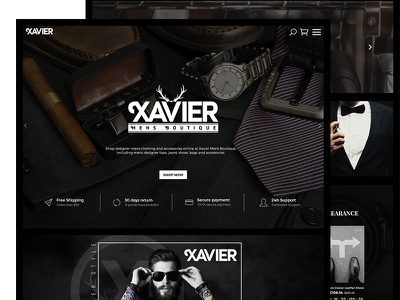 Xavier Mens Boutique Fashion Clothing Ecommerce Website Design hipster suit apparel website ux ui clothing fashion boutique mens