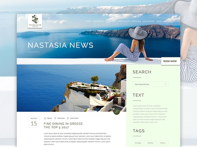 Nastasia Village Hotel Greece Blog Website Page Design Ui Dibbbl news luxury naxos travel flat modern ui blog hotel greece