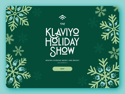 Klaviyo Holiday Show 2020 event branding event splash page splash visual direction holiday design holiday landing page design landing page website design