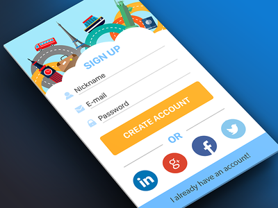 Sign Up screen for Travel Application. Free PSD