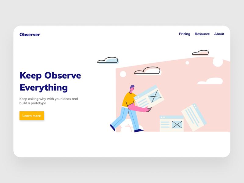 Observer Landing Page web illustration ui ux branding