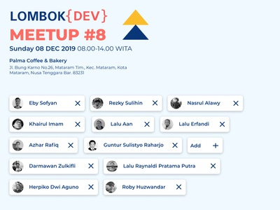Lombok {DEV}  MeetUp poster designer developer meetup web design branding