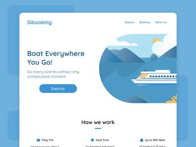 Boat Booking Landing Page landing page webdesign website illustration vector ui ux design branding