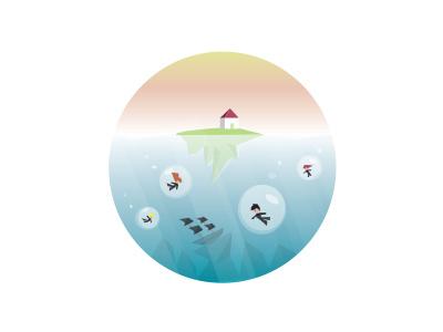 Underwater Bubble Dive!  ship wreck small house illustration design bubble underwater