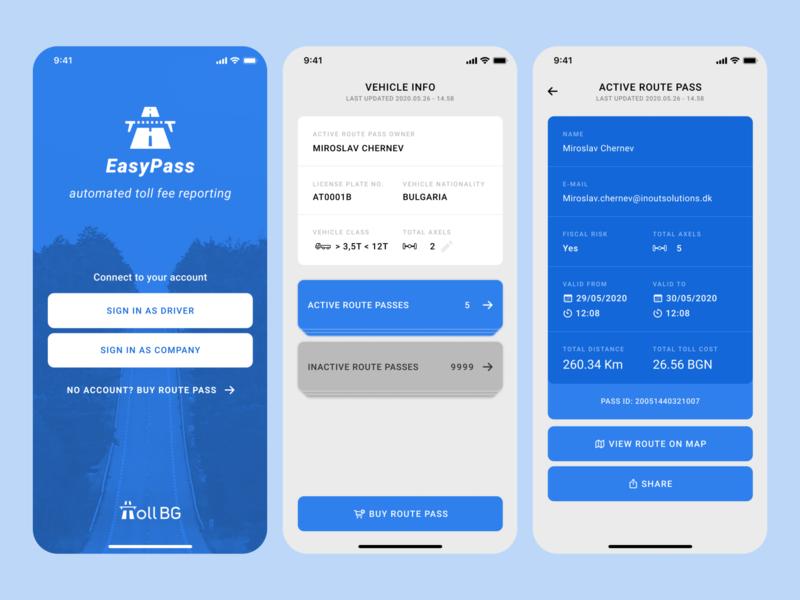 EasyPass application ux ui ghanavati app design bulgaria toll app ios