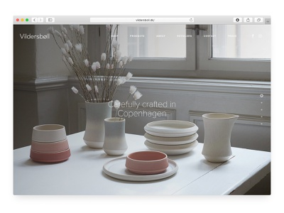 Vildersbøll ghanavati front page ux ui landing page identity branding design scandinavian modern ceramics danish typography