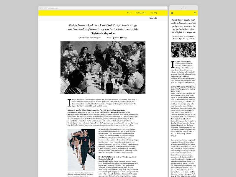 Unpublished fashion project - Article view uxui ux ui article exploration corporate branding typography ghanavati design scandinavian modern identity danish fashion app