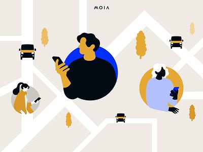 MOIA Dynamic Vehicle Selection illustration design branding ux ui mobility interface app