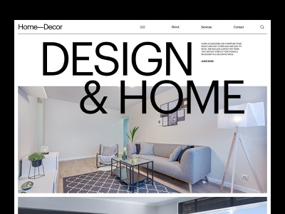 Interior Minimalistic Layout interior design website imagery landing daily ui card typo branding landing page homepage web design typography interface minimalistic minimal layout