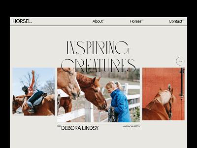 Inspiring Creatures elegant ui modern layout minimal card branding landing page homepage web design typography webdesign layout horses