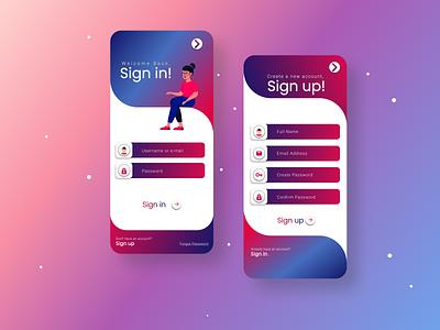 Sign UP #DailyUI Challenge #1 mobile typography vector branding logo icon illustration app ux ui design