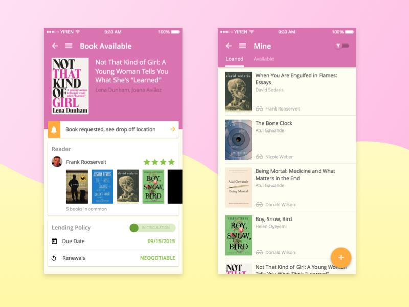 Book Sharing App app ux ui material sharing mobile book