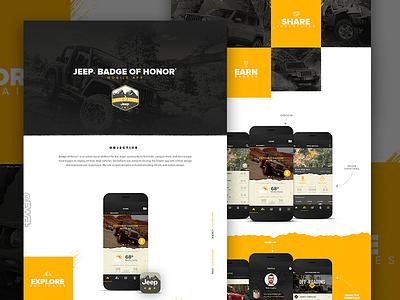 Jeep Case study portfolio case study community checkin profile ui iphone off roading trails jeep